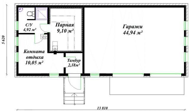 Проект гаража с баней,  гостевую комнату можно устроить в мансарде