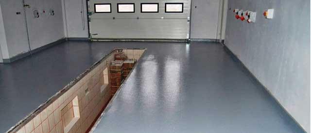 Отделка гаража внутри – полимерное покрытие для пола