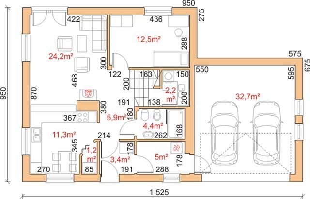 Проект каркасного дома с гаражом и мансардой - гараж соседствует с нежилыми помещениями