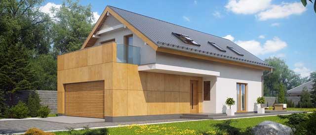 Каркасный дом с мансардой и гаражом