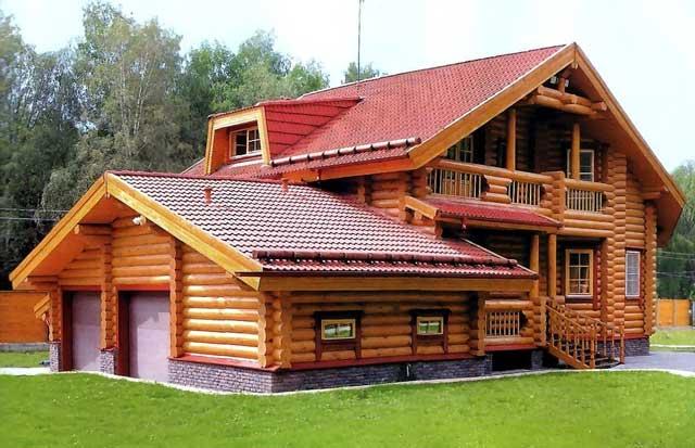 Единство архитектурного стиля - пожалуй самая веская причина строить гараж из дерева