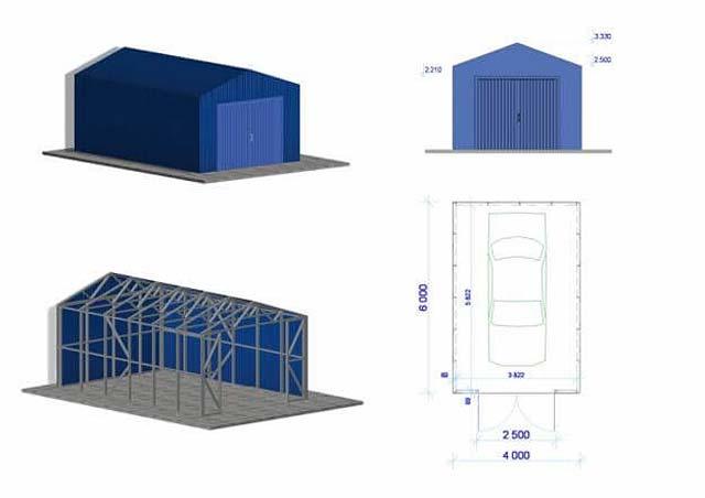 Металлический гараж 6х4