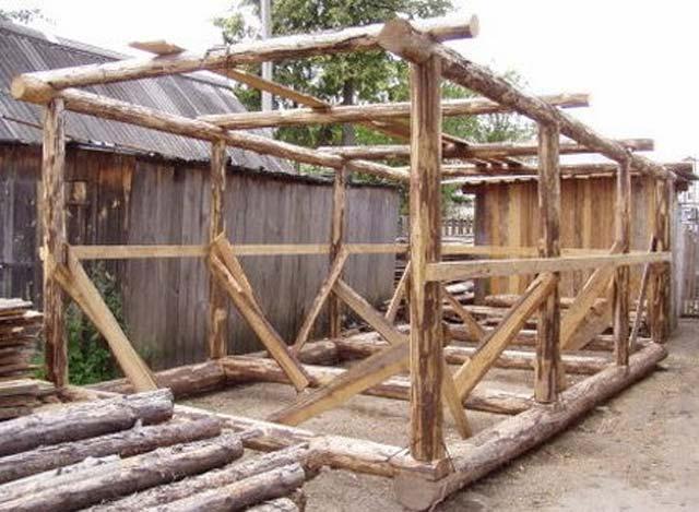 Каркасный деревянный гараж 6х4 - самый доступный вариант для удаленных районов.