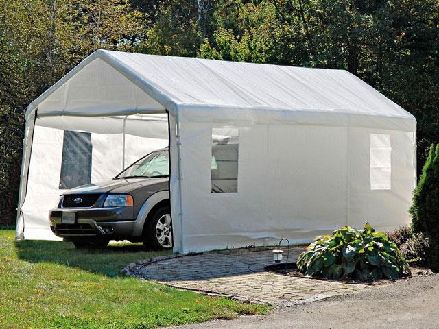 Тентовый гараж для автомобиля - бюджетный вариант