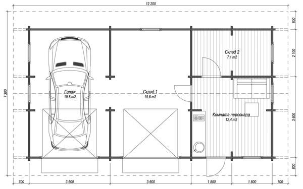 Гараж-склад 7 на 7 метров