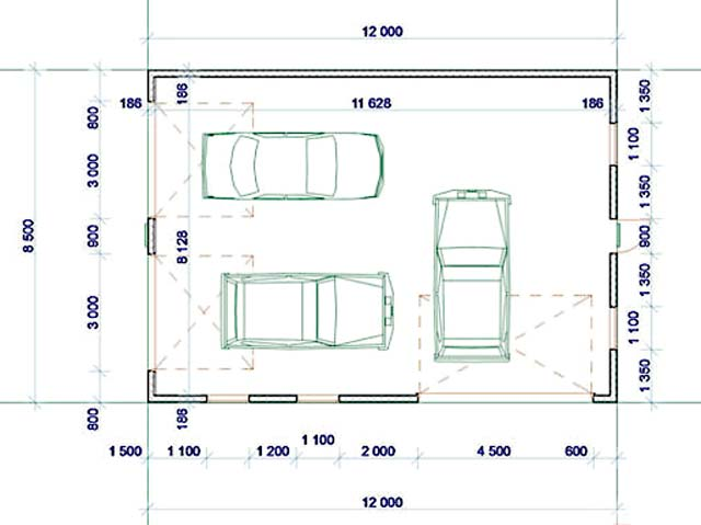 Нестандартный проект гаража на 3 машины