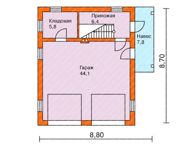 1-ый этаж - проект дома 8 на 8 с гаражом или гараж 8 на 8 с мансардой - выглядит примерно так
