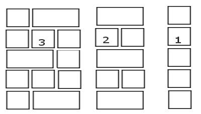1 - кладка в полшлакоблока, 2 - кладка в шлакоблок, 3 - полтора шлакоблока