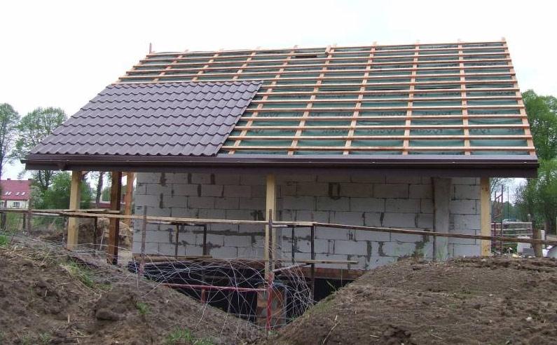 покрытие крыши гаража черепицой