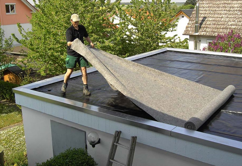 перекрытие крыши рубероидом