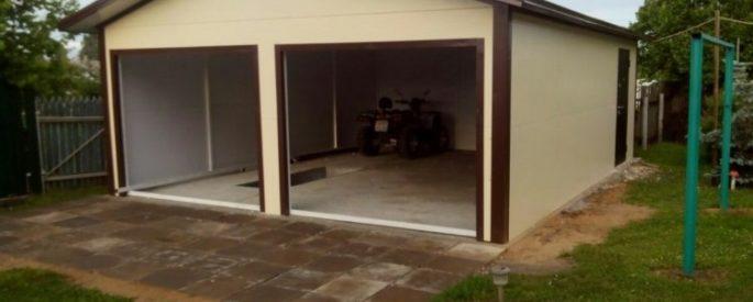 Тротуарная плитка вокруг гаража из сендвич панелей