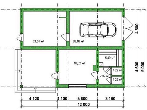Проект гаража с баней, обратите внимание на веранду, которая тут совсем не лишняя