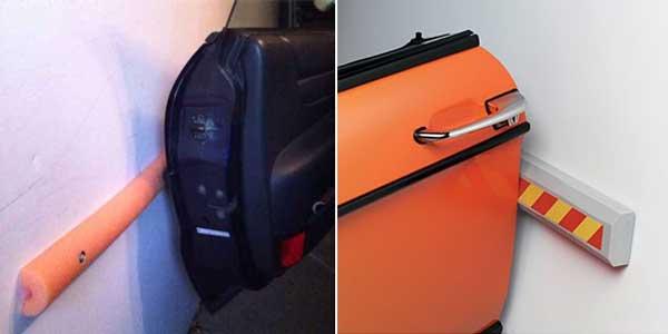 Идеи обустройства гаража - мягкий упор вдоль стены сбережет краску на дверях вашего авто