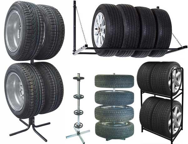 Идеи обустройства гаража - стойка или полка для хранения колёс