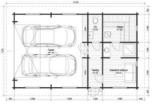 Планировка гаража внутри - автомобили хранятся параллельно друг другу