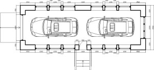 Планировка гаража внутри - автомобили хранятся один за другим