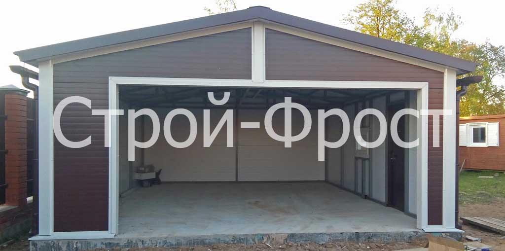 Каркасный гараж на 2 машины, фундамент - плитный, ворота - секционные