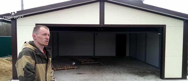 Каркасный гараж на две машины