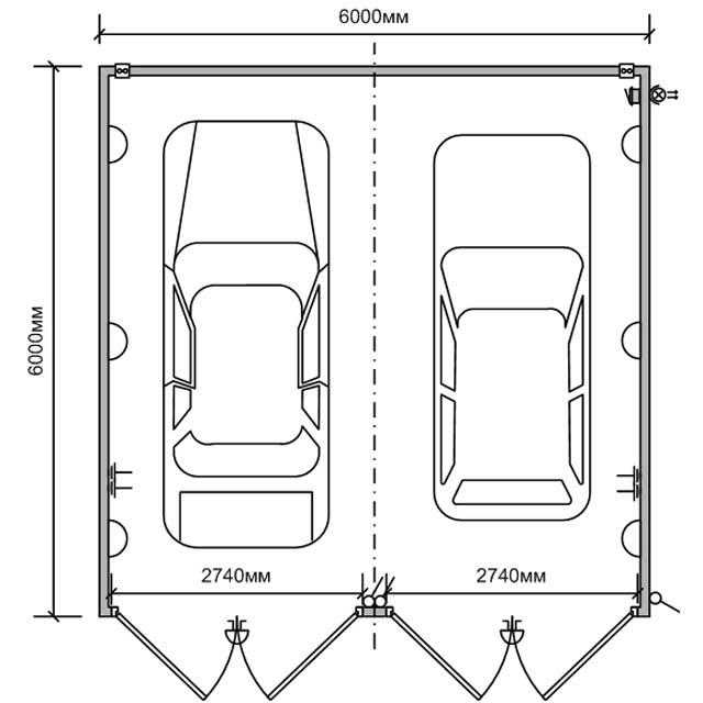 Гараж 6 на 6 метров позволяет легко расположить 2 автомобиля.