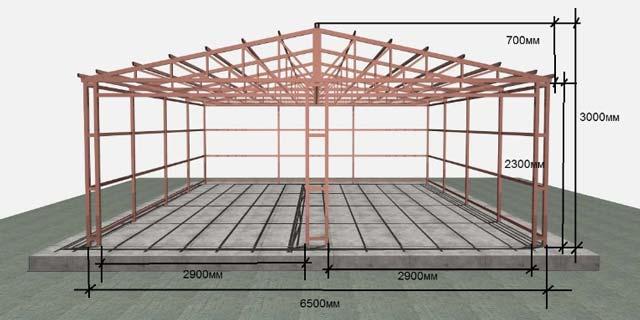 Каркасный гараж 6 на 6 метров на первый взгляд имеет довольно сложную конструкцию, но возводится он очень быстро.