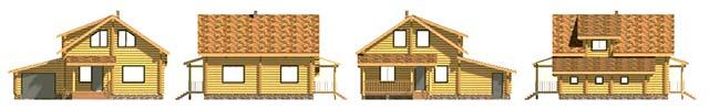 Выбираем проект дома из бревна с гаражом