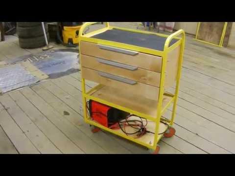 Мобильный стеллаж в гараже