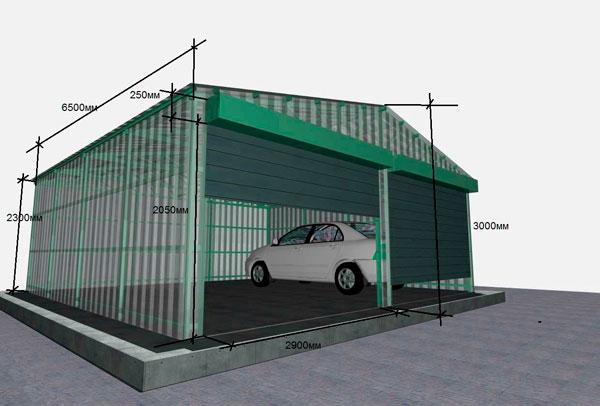 Каркасный гараж 7 на 7 из ЛСТК