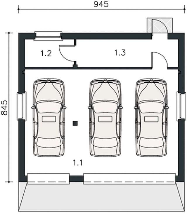 Гараж на 3 машины с двумя воротами