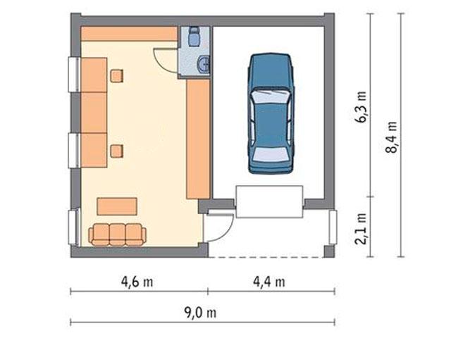 Просторный гараж 8 на 8 на одну машину с мастерской