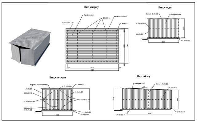Металлический каркас гаража - чертеж поможет рассчитать количество материала