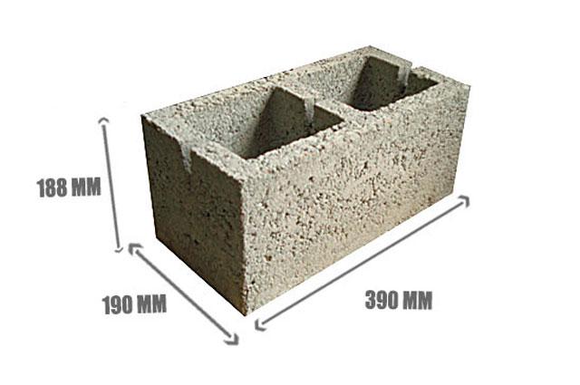 Керамзитобетонный блок, размеры