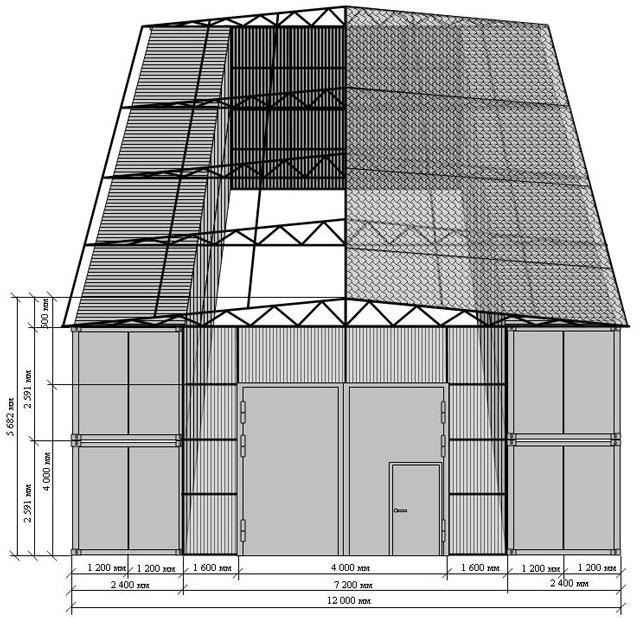 Промышленный гараж из контейнеров, проект масштабный, но гараж из двух контейнеров строится примерно так же.